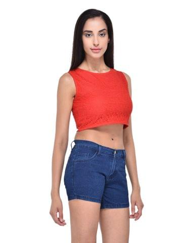 RIGO Red Floral Lace Crop Top for women