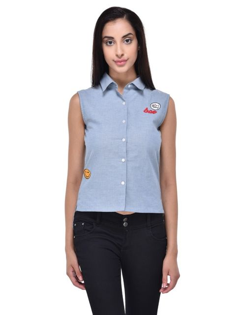 RIGO Quirky Patched Chambray Shirt for women