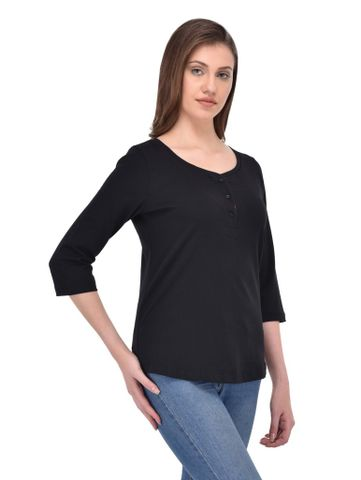 RIGO Black Henley Neck Tee with Pink Placket for women