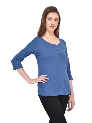 Blue Henley Neck Tee with Black Placket for women