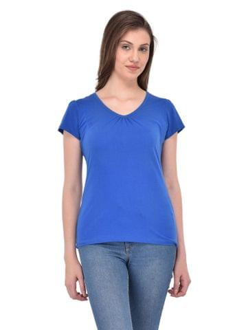 RIGO Gathered V-neck Royal Blue Tee for women