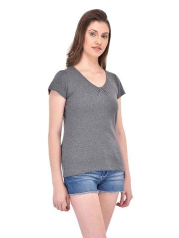 RIGO Gathered V-neck Charcoal Grey Tee for women