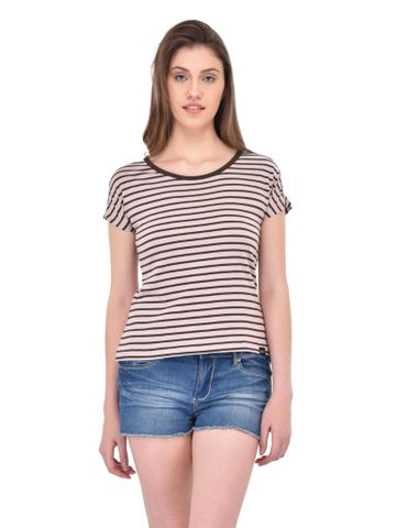 RIGO Brown Stripe Tee for women