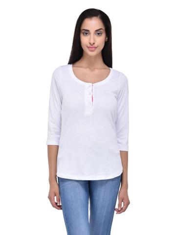 White Henley Neck Tee with Pink Placket for women