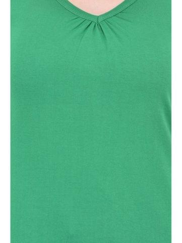 RIGO Gathered V-neck Green Tee for women