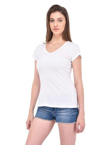 RIGO Gathered V-neck White Tee for women