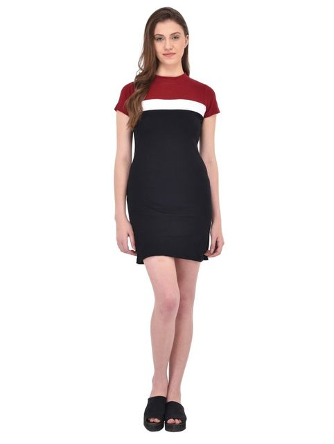 RIGO Maroon and Black Bodycon Dress for women