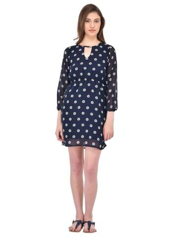 Floral Print Navy Blue Dress for women