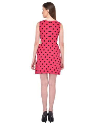 RIGO Polka Dots Printed Pink Cutout Waist Dress for women