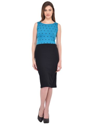 RIGO Turquoise and Black Polka dot print Bodycon Dress for women