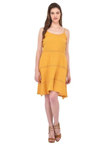 Mustard Yellow Lace Insert Flare Dress for women