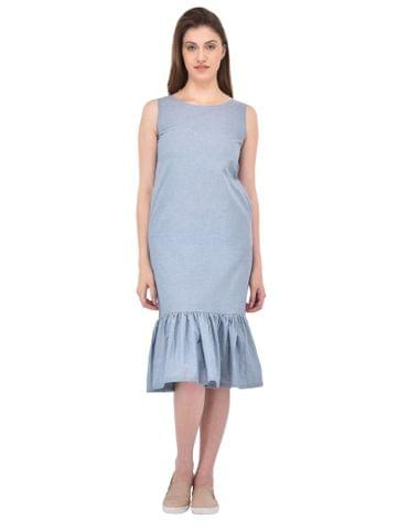 RIGO Gathered Hem Chambray Dress with Side Pockets for women
