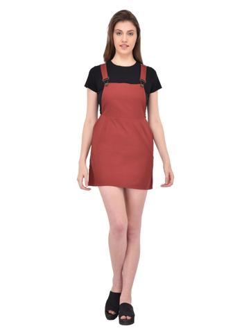 Maroon Twill Dungaree Dress for women