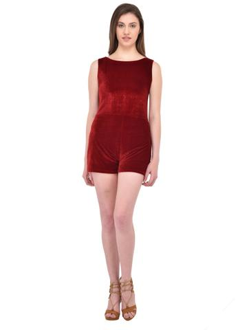 Maroon Velvet Playsuit for women