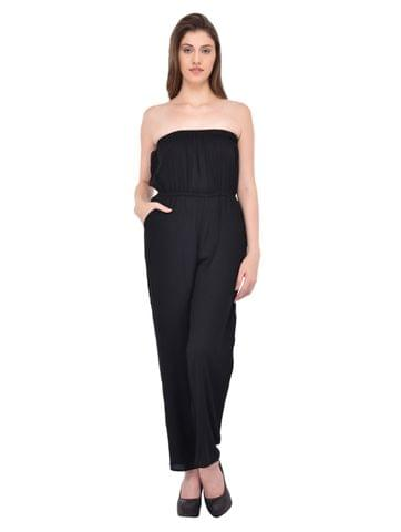 Black off shoulder jumpsuit for women