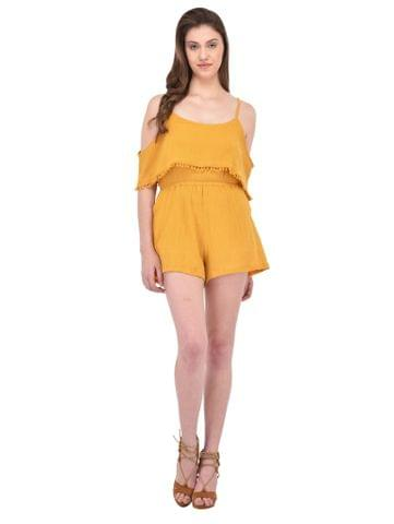 RIGO Crinkle Viscose Mustard Playsuit for women