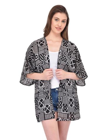 Black and Beige Abstract Print Kimono Shrug for women