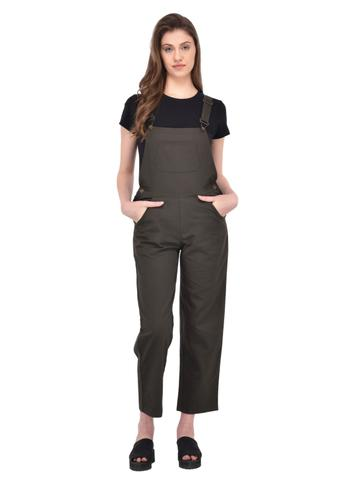 Khaki Twill Dungaree for women
