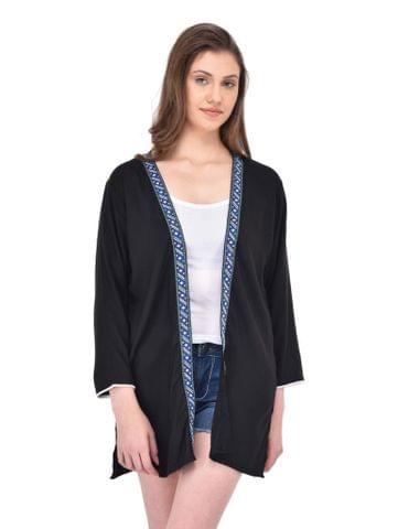 RIGO Black Longline Shrug with Lace trimmed Edges for women