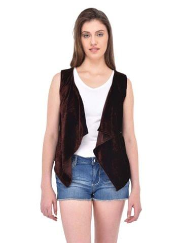 RIGO Brown Velvet Waterfall Shrug for women
