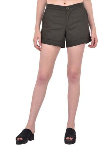 RIGO Khaki Cotton Twill Shorts for women