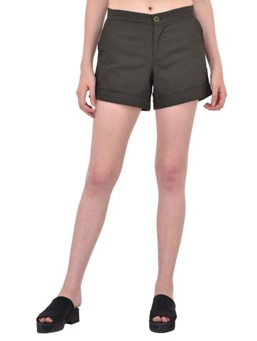 Khaki Cotton Twill Shorts for women