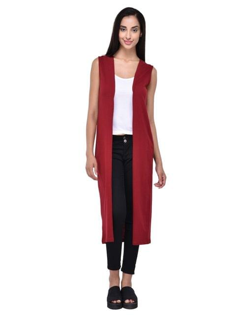 RIGO Solid Maroon Sleevless Maxi Shrug for women
