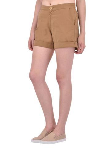 Beige Cotton Twill Shorts for women