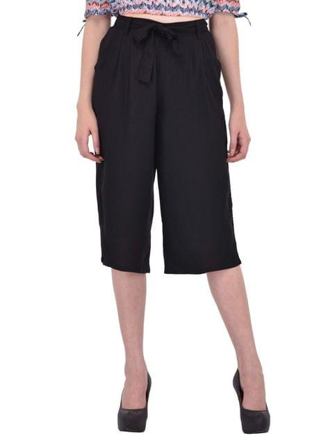 RIGO Black Culottes with Tie Belt for women