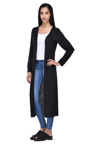 Solid Black Maxi Shrug for women