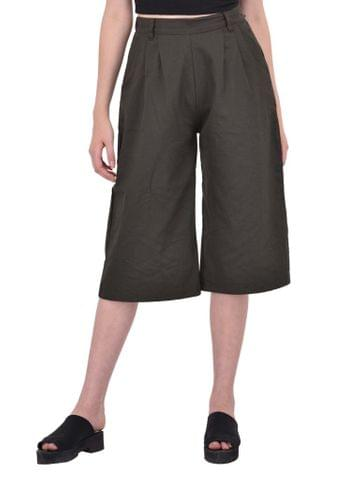 RIGO Front Pleat Detailed Khaki Culottes for women