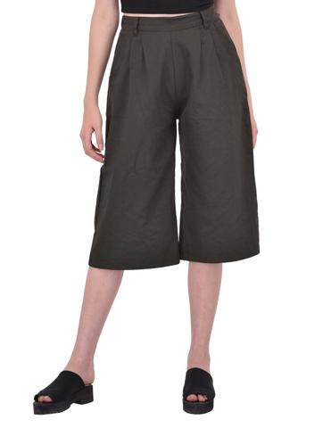 Front Pleat Detailed Khaki Culottes for women