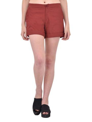 Maroon Cotton Twill Shorts for women