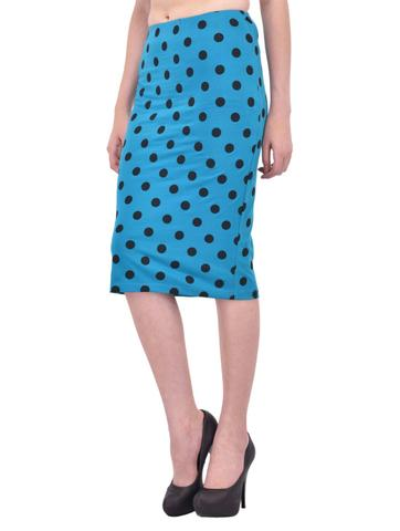 Black Polka Dot Print Turquoise Pencil Skirt for women