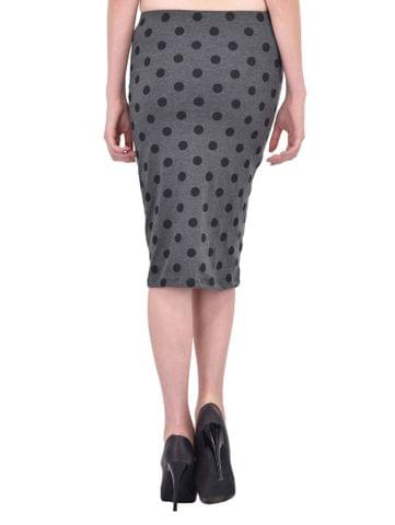 RIGO Black Polka Dot Print Charcoal Grey Pencil Skirt for women