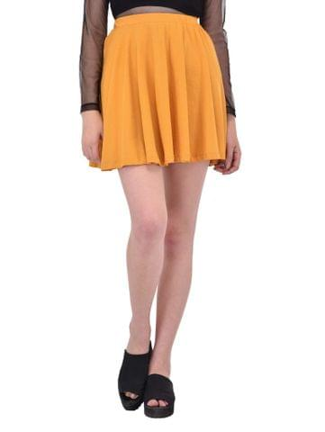 RIGO Solid Mustard Yellow Flare Skirt for women