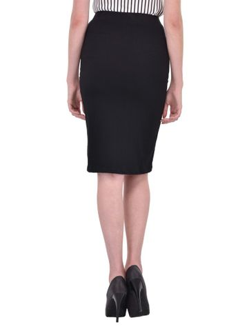 RIGO Solid Black Pencil Skirt for women