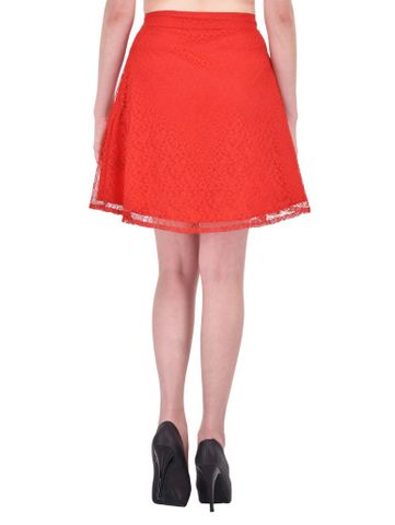 RIGO Red Floral Lace Aline Skirt for women