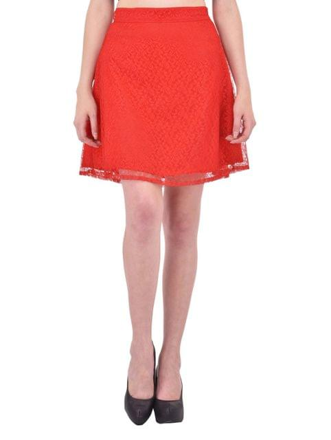 Red Floral Lace Aline Skirt for women