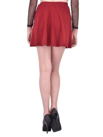 RIGO Solid Maroon Skater Skirt for women