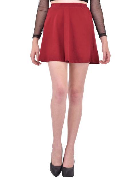 Solid Maroon Skater Skirt for women