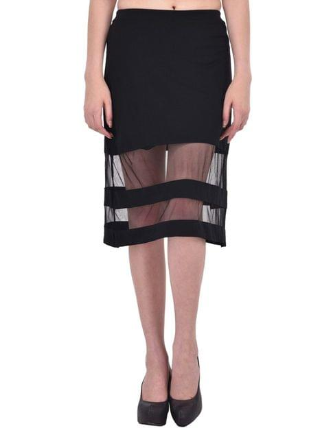 RIGO Mesh Panel Insert Black Midi Skirt for women