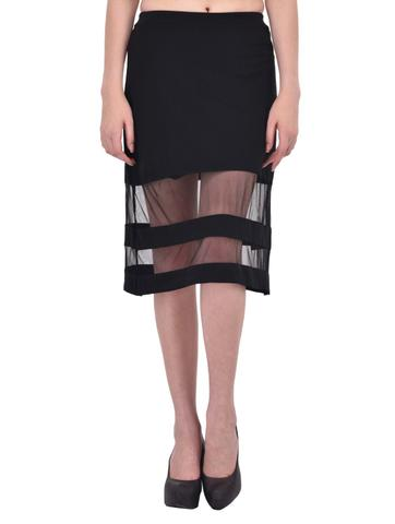 Mesh Panel Insert Black Midi Skirt for women