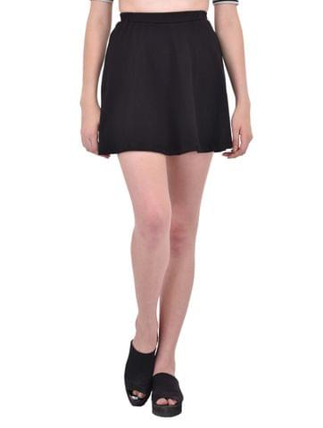 RIGO Solid Black Skater Skirt for women