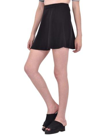 Solid Black Skater Skirt for women