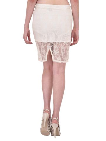 RIGO Off White Floral Lace Pencil Skirt for women