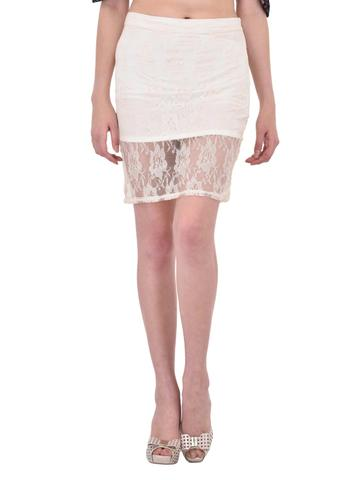 Off White Floral Lace Pencil Skirt for women