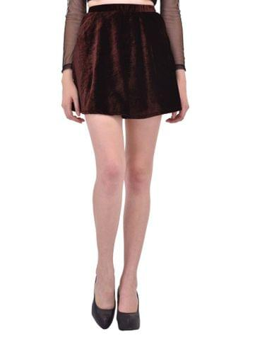 RIGO Brown Velvet Skater Skirt for women