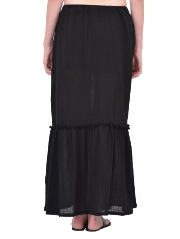 RIGO Black Crinkle Viscose Maxi Skirt for women