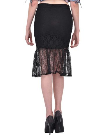 RIGO Black Floral Lace gathered hem Skirt for women